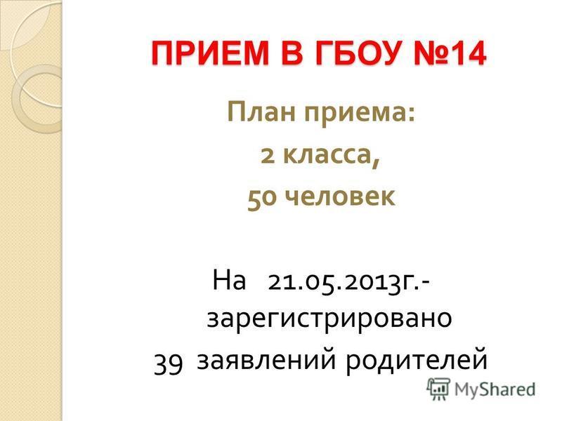 ПРИЕМ В ГБОУ 14 План приема : 2 класса, 50 человек На 21.05.2013 г.- зарегистрировано 39 заявлений родителей