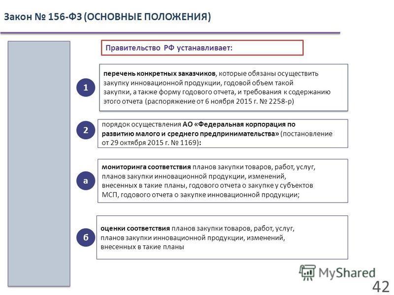 42 Закон 156-ФЗ (ОСНОВНЫЕ ПОЛОЖЕНИЯ) перечень конкретных заказчиков, которые обязаны осуществить закупку инновационной продукции, годовой объем такой закупки, а также форму годового отчета, и требования к содержанию этого отчета (распоряжение от 6 но