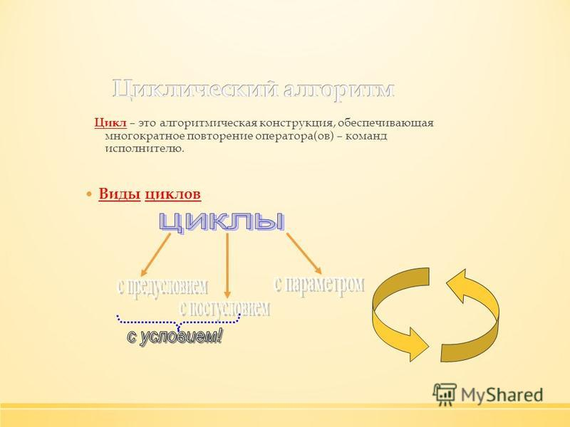 Цикл – это алгоритмическая конструкция, обеспечивающая многократное повторение оператора(ов) – команд исполнителю. Виды циклов