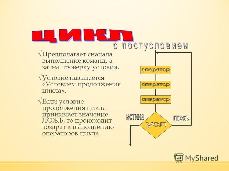 Предполагает сначала выполнение команд, а затем проверку условия. Условие называется «Условием продолжения цикла». Если условие продолжения цикла принимает значение ЛОЖЬ, то происходит возврат к выполнению операторов цикла