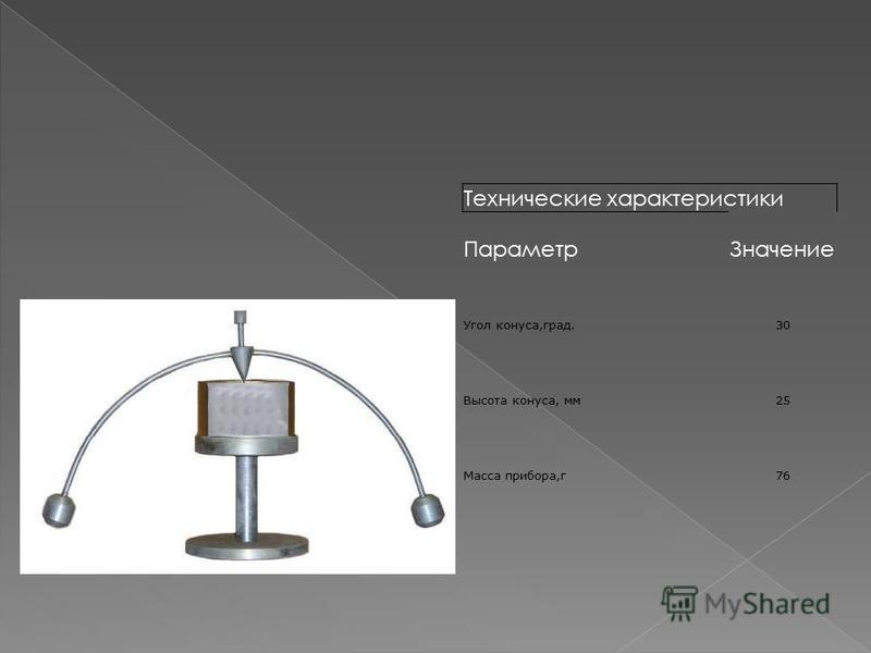 Технические характеристики Параметр Значение Угол конуса,град.30 Высота конуса, мм 25 Масса прибора,г 76