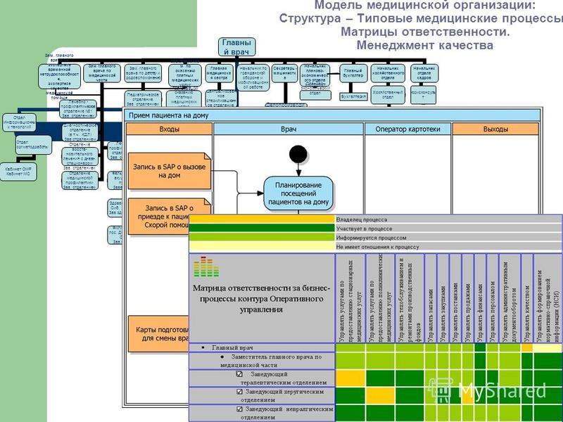 Модель медицинской организации: Структура – Типовые медицинские процессы - Матрицы ответственности. Менеджмент качества