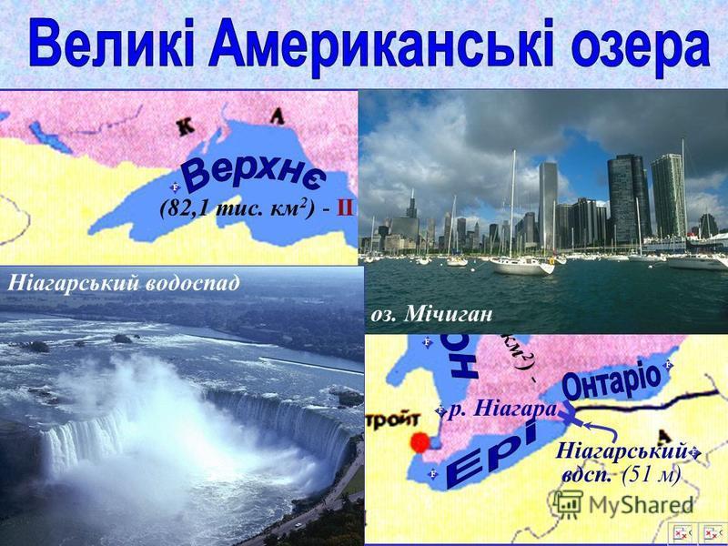 Т Р Л – тектонічне; – реліктове; – льодовикове; К – карстове. Великі Американські озера Великі Американські озера: 20% прісної води світу (І) Великі Канадські озера Т оз. Окічобі оз. Вел. Солоне Р оз. Вінніпег оз. Вел. Невільниче оз. Вел. Ведмеже К Л