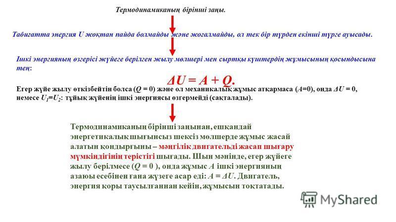 Табиғатта энергия U жоқтан пайда болмайды және жоғалмайды, ол тек бiр түрден екiншi түрге ауысады. Термодинамиканың бiрiншi заңы. Ішкi энергияның өзгерiсi жүйеге берiлген жылу мөлшерi мен сыртқы күштердiң жұмысының қосындысына тең: ΔU = A + Q. Егер ж