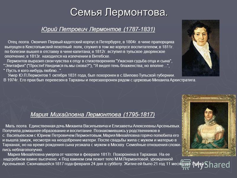 Семья Лермонтова. Юрий Петрович Лермонтов (1787-1831) Отец поэта. Окончил Первый кадетский корпус в Петербурге, в 1804 г. в чине прапорщика выпущен в Кексгольмский пехотный полк, служил в том же корпусе воспитателем; в 1811 г. по болезни вышел в отст