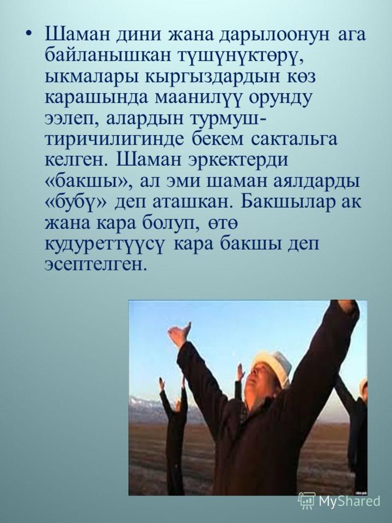 Шаман дини жана дарылоонун ага байланышкан түшүнүктөрү, ыкмалары кыргыздардын көз карашында маанилүү орунду ээлеп, алардын турмуш- тиричилигинде бекем сактальга келген. Шаман эркектерди «бакшы», ал эми шаман аялдарды «бубү» деп аташкан. Бакшылар ак ж