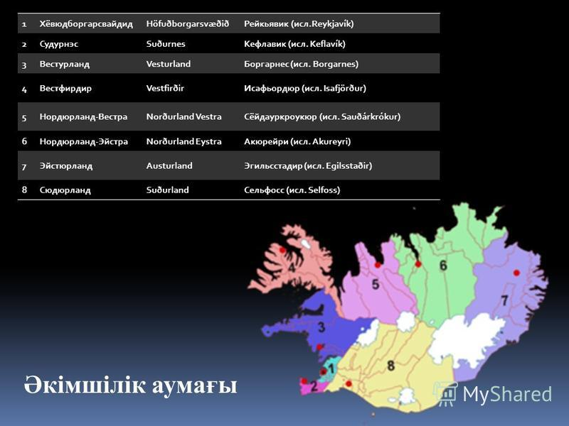 1ХёвюдборгарсвайдидHöfuðborgarsvæðiðРейкьявик (исл.Reykjavík) 2СудурнэсSuðurnesКефлавик (исл. Keflavík) 3ВестурландVesturlandБоргарнес (исл. Borgarnes) 4ВестфирдирVestfirðirИсафьордюр (исл. Isafjörður) 5Нордюрланд-ВестраNorðurland VestraСёйдауркроукю