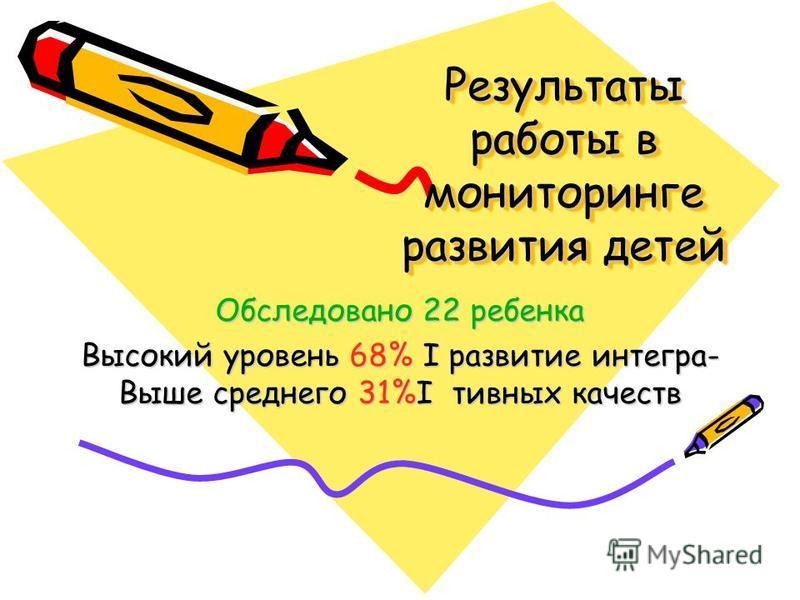 Результаты работы в мониторинге развития детей Обследовано 22 ребенка Высокий уровень 68% I развитие интеграл- Выше среднего 31%I дивных качеств