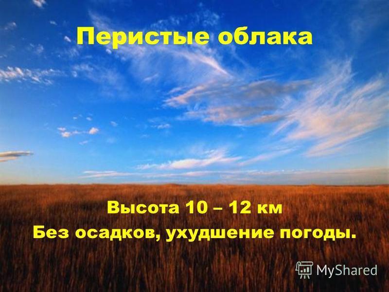 Перистые облака Высота 10 – 12 км Без осадков, ухудшение погоды.