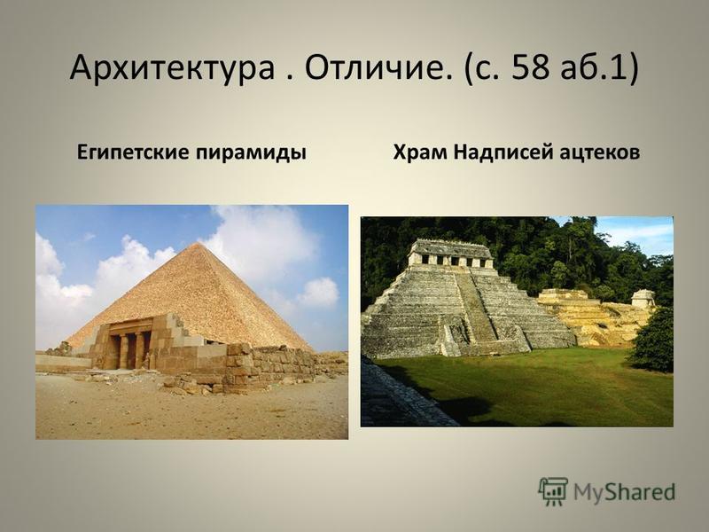Архитектура. Отличие. (с. 58 аб.1) Египетские пирамиды Храм Надписей ацтеков