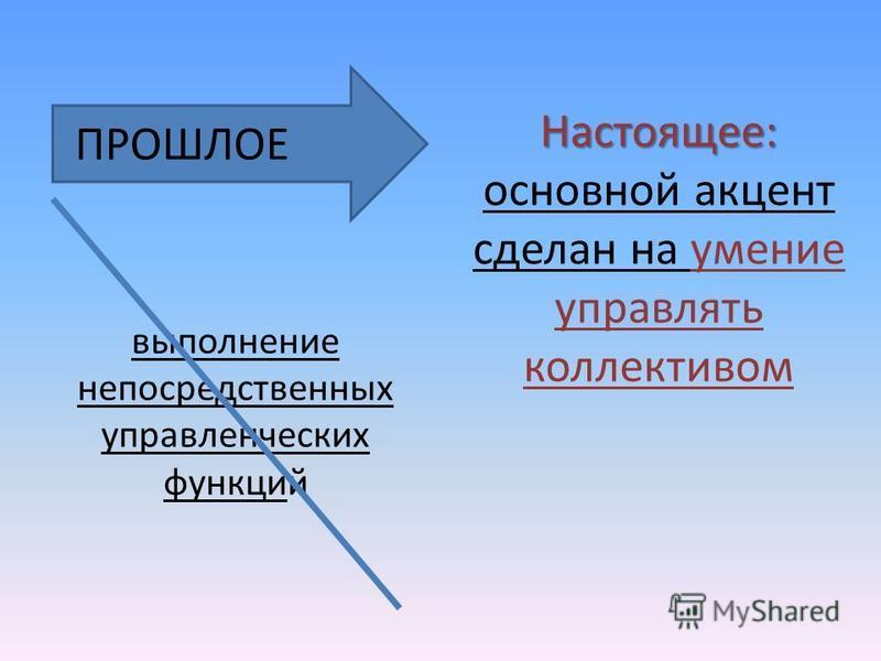выполнение непосредственных управленческих функций Настоящее: Настоящее: основной акцент сделан на умение управлять коллективом ПРОШЛОЕ