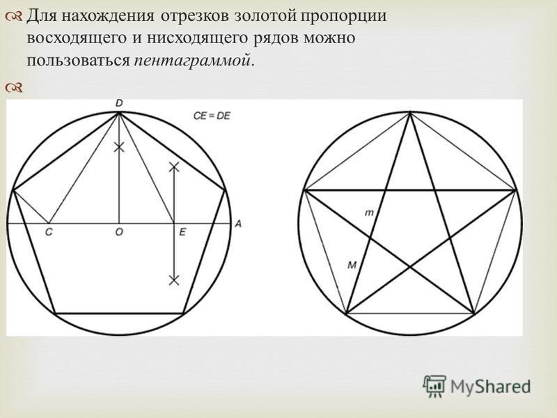 Для нахождения отрезков золотой пропорции восходящего и нисходящего рядов можно пользоваться пентаграммой.