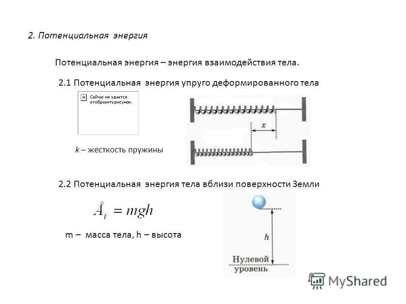 2. Потенциальная энергия Потенциальная энергия – энергия взаимодействия тела. 2.1 Потенциальная энергия упруго деформированного тела 2.2 Потенциальная энергия тела вблизи поверхности Земли k – жесткость пружины m – масса тела, h – высота