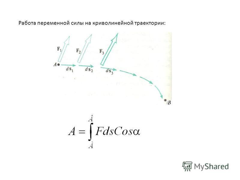 Работа переменной силы на криволинейной траектории: