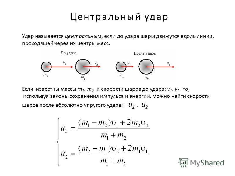 Центральный удар Удар называется центральным, если до удара шары движутся вдоль линии, проходящей через их центры масс. Если известны массы m 1, m 2 и скорости шаров до удара: v 1, v 2 то, используя законы сохранения импульса и энергии, можно найти с