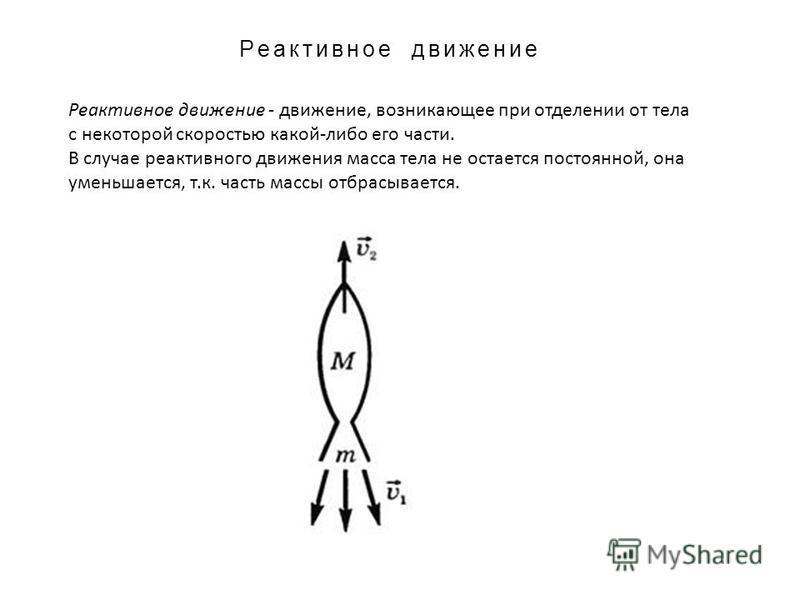 Реактивное движение Реактивное движение - движение, возникающее при отделении от тела с некоторой скоростью какой-либо его части. В случае реактивного движения масса тела не остается постоянной, она уменьшается, т.к. часть массы отбрасывается.