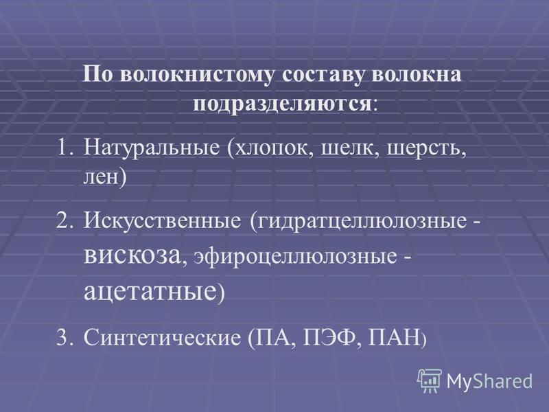 По волокнистому составу волокна подразделяются: 1. Натуральные (хлопок, шелк, шерсть, лен) 2. Искусственные (гидратцеллюлозные - вискоза, эфироцеллюлозные - ацетатные ) 3. Синтетические (ПА, ПЭФ, ПАН )