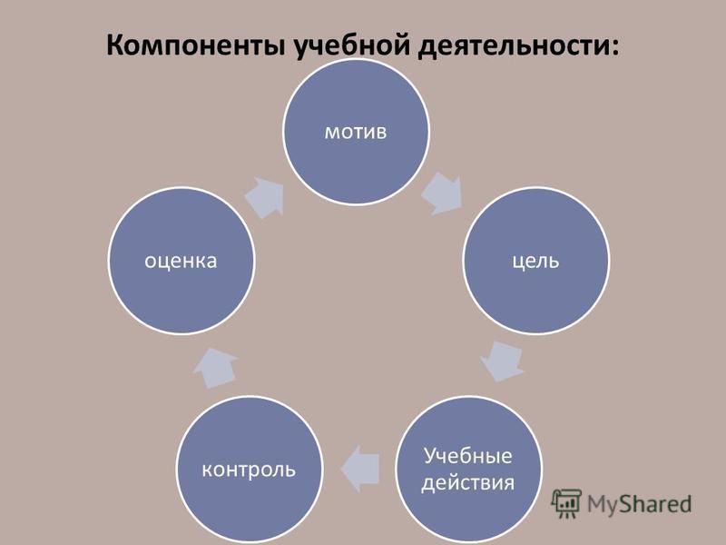 Компоненты учебной деятельности: мотив цель Учебные действия контроль оценка