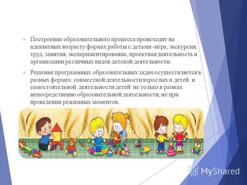 Построение образовательного процесса происходит на адекватных возрасту формах работы с детьми -игра, экскурсия, труд, занятия, экспериментирование, проектная деятельность и организации различных видов детской деятельности. Решение программных образов
