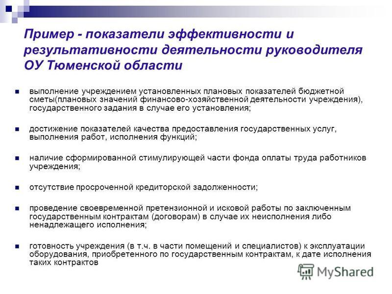 Пример - показатели эффективности и результативности деятельности руководителя ОУ Тюменской области выполнение учреждением установленных плановых показателей бюджетной сметы(плановых значений финансово-хозяйственной деятельности учреждения), государс