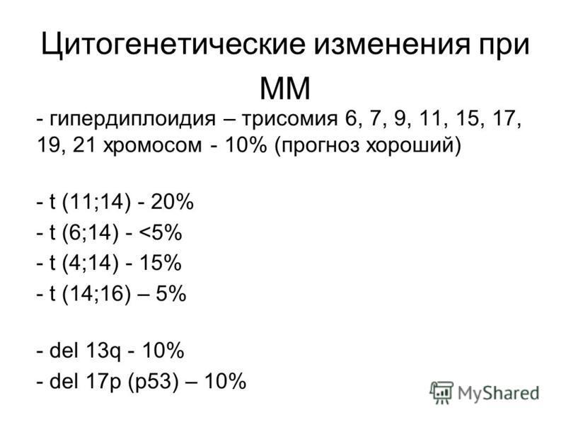 Цитогенетические изменения при ММ - гипердиплоидия – трисомия 6, 7, 9, 11, 15, 17, 19, 21 хромосом - 10% (прогноз хороший) - t (11;14) - 20% - t (6;14) - <5% - t (4;14) - 15% - t (14;16) – 5% - del 13q - 10% - del 17p (p53) – 10%