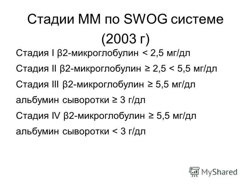 Стадии ММ по SWOG системе (2003 г) Стадия I β2-микроглобулин < 2,5 мг/дл Стадия II β2-микроглобулин 2,5 < 5,5 мг/дл Стадия III β2-микроглобулин 5,5 мг/дл альбумин сыворотки 3 г/дл Стадия IV β2-микроглобулин 5,5 мг/дл альбумин сыворотки < 3 г/дл