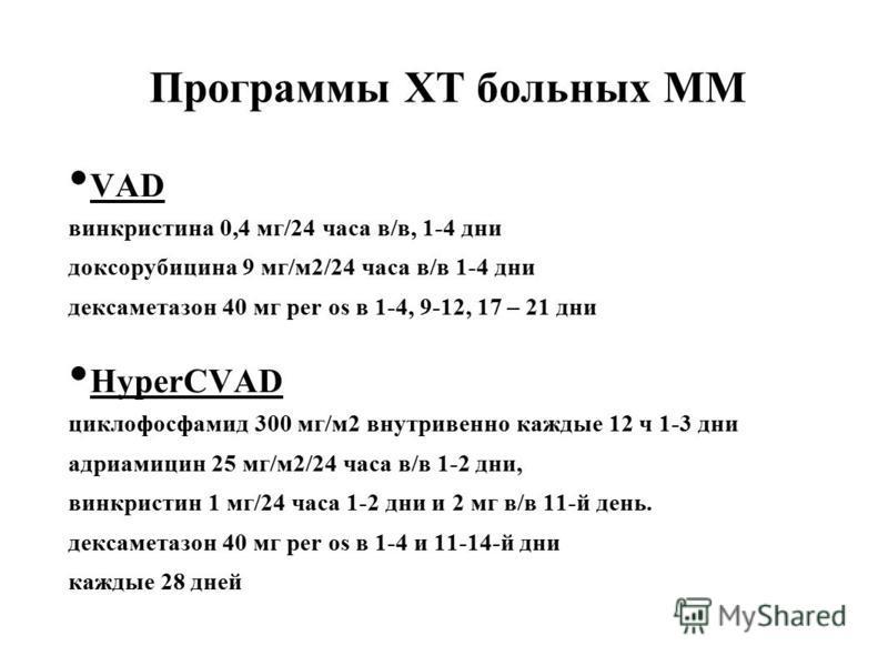 Программы ХТ больных ММ VAD винкристина 0,4 мг/24 часа в/в, 1-4 дни доксорубицина 9 мг/м 2/24 часа в/в 1-4 дни дексаметазон 40 мг per os в 1-4, 9-12, 17 – 21 дни HyperCVAD циклофосфамид 300 мг/м 2 внутривенно каждые 12 ч 1-3 дни адриамицин 25 мг/м 2/