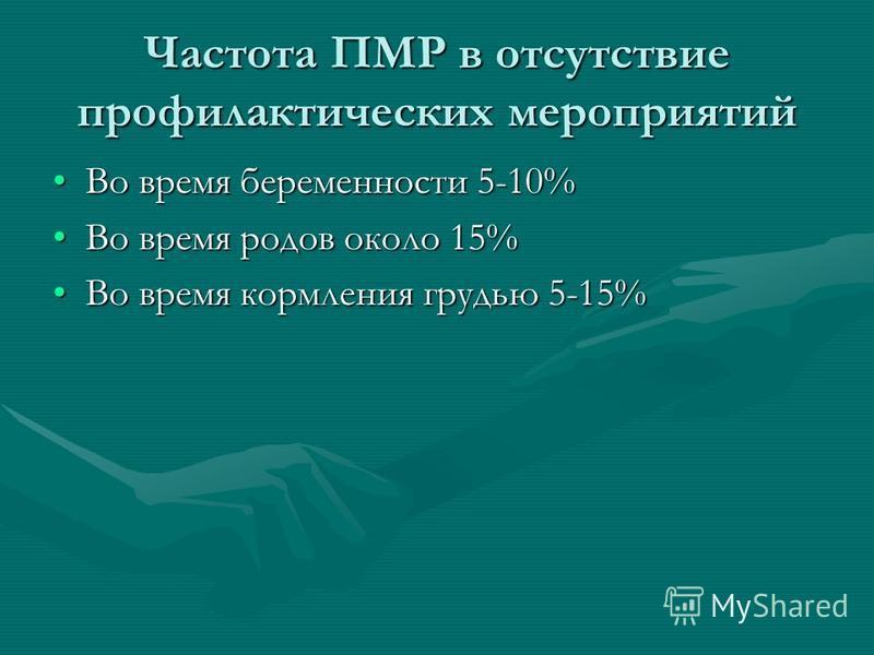 Частота ПМР в отсутствие профилактических мероприятий Во время беременности 5-10%Во время беременности 5-10% Во время родов около 15%Во время родов около 15% Во время кормления грудью 5-15%Во время кормления грудью 5-15%