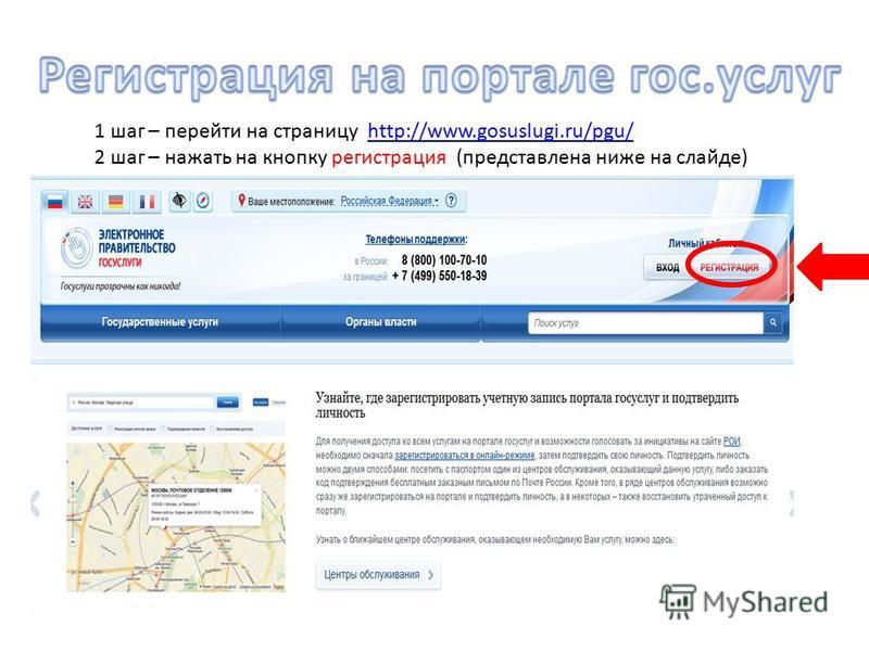1 шаг – перейти на страницу http://www.gosuslugi.ru/pgu/http://www.gosuslugi.ru/pgu/ 2 шаг – нажать на кнопку регистрация (представлена ниже на слайде)