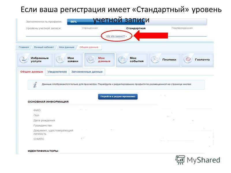 Если ваша регистрация имеет «Стандартный» уровень учетной записи