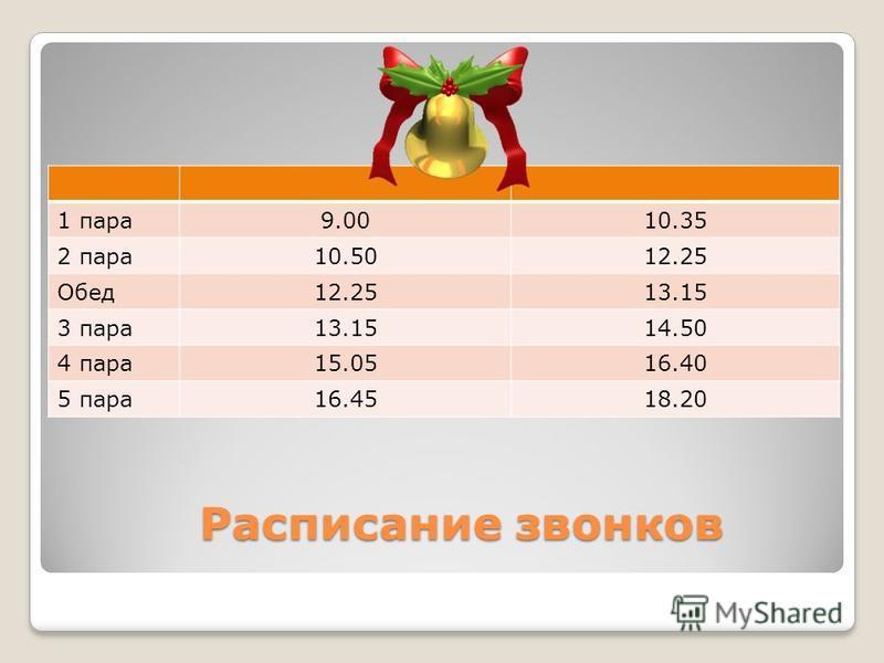 Расписание звонков Расписание звонков 1 пара 9.0010.35 2 пара 10.5012.25 Обед 12.2513.15 3 пара 13.1514.50 4 пара 15.0516.40 5 пара 16.4518.20