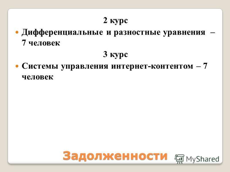2 курс Дифференциальные и разностные уравнения – 7 человек 3 курс Системы управления интернет-контентом – 7 человек Задолжености