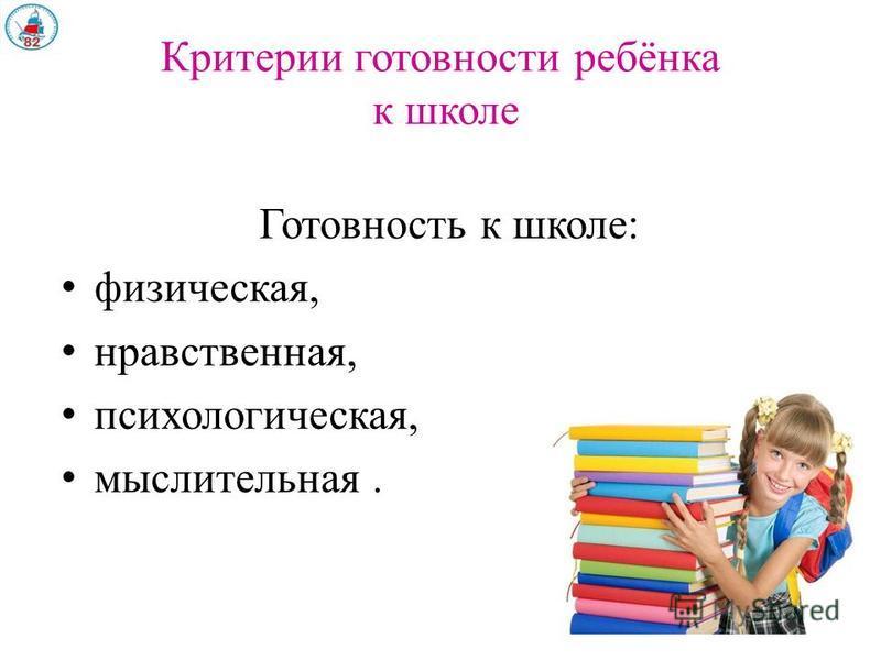 Критерии готовности ребёнка к школе Готовность к школе: физическая, нравственная, психологическая, мыслительная.