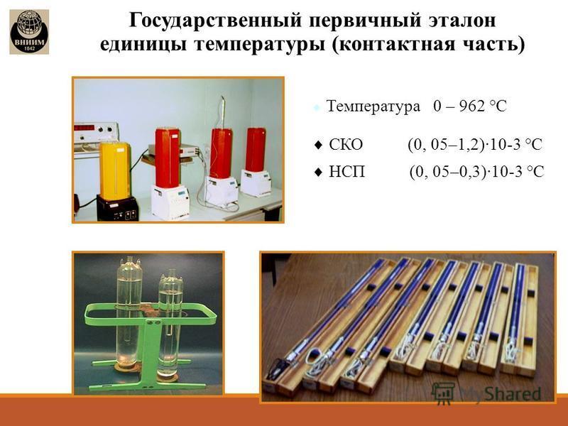 Государственный первичный эталон единицы температуры (контактная часть) Температура 0 – 962 °С СКО (0, 05–1,2)10-3 °С НСП (0, 05–0,3)10-3 °С