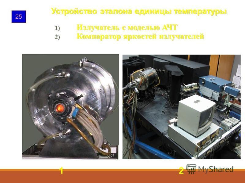 25 1) Излучатель с моделью АЧТ 2) Компаратор яркостей излучателей 1 2 Устройство эталона единицы температуры