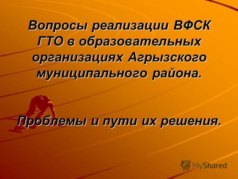 Вопросы реализации ВФСК ГТО в образовательных организациях Агрызского муниципального района. Проблемы и пути их решения.