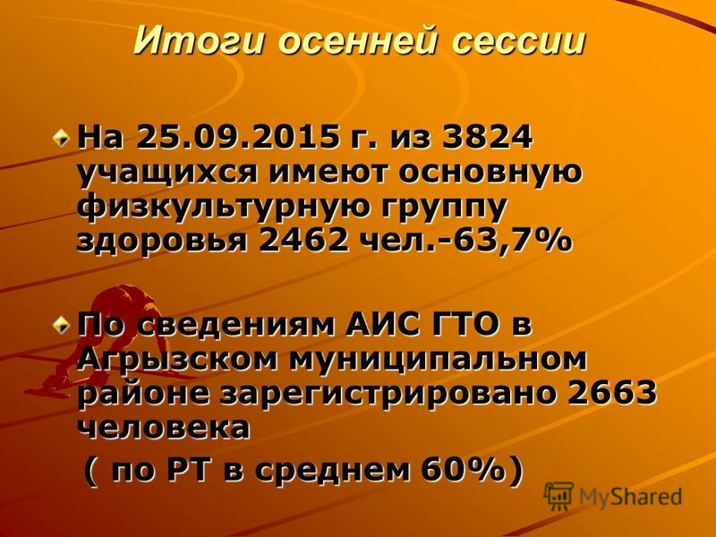 Итоги осенней сессии На 25.09.2015 г. из 3824 учащихся имеют основную физкультурную группу здоровья 2462 чел.-63,7% По сведениям АИС ГТО в Агрызском муниципальном районе зарегистрировано 2663 человека ( по РТ в среднем 60%) ( по РТ в среднем 60%)