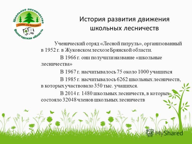 История развития движения школьных лесничеств Ученический отряд «Лесной патруль», организованный в 1952 г. в Жуковском лесхозе Брянской области. В 1966 г. они получили название «школьные лесничества» В 1967 г. насчитывалось 75 около 1000 учащихся В 1