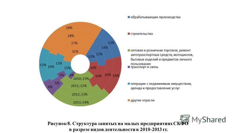 Рисунок 8. Структура занятых на малых предприятиях СКФО в разрезе видов деятельности в 2010-2013 гг.