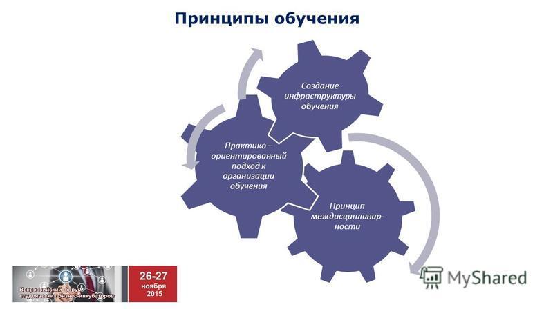 Принципы обучения Принцип междисциплинарный- насти Практико – ориентированный подход к организации обучения Создание инфраструктуры обучения