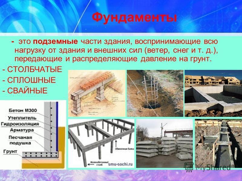 Фундаменты - это подземные части здания, воспринимающие всю нагрузку от здания и внешних сил (ветер, снег и т. д.), передающие и распределяющие давление на грунт. - СТОЛБЧАТЫЕ - СПЛОШНЫЕ - СВАЙНЫЕ