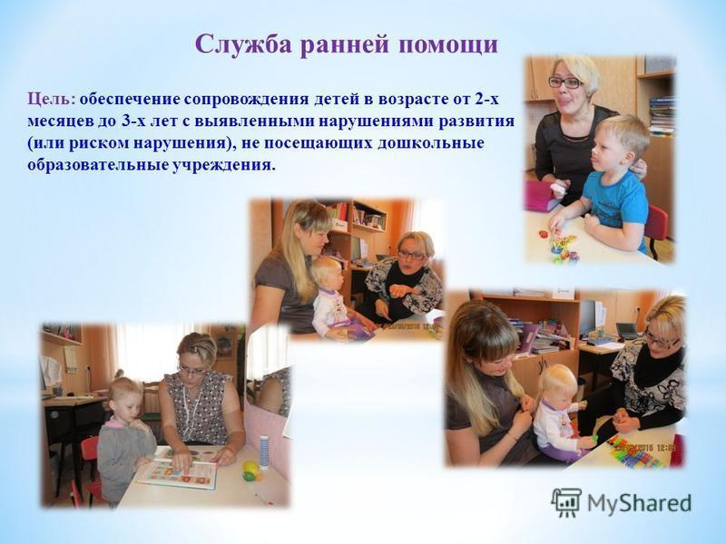Служба ранней помощи Цель: обеспечение сопровождения детей в возрасте от 2-х месяцев до 3-х лет с выявленными нарушениями развития (или риском нарушения), не посещающих дошкольные образовательные учреждения.
