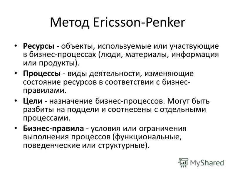 Метод Ericsson-Penker Ресурсы - объекты, используемые или участвующие в бизнес-процессах (люди, материалы, информация или продукты). Процессы - виды деятельности, изменяющие состояние ресурсов в соответствии с бизнес- правилами. Цели - назначение биз