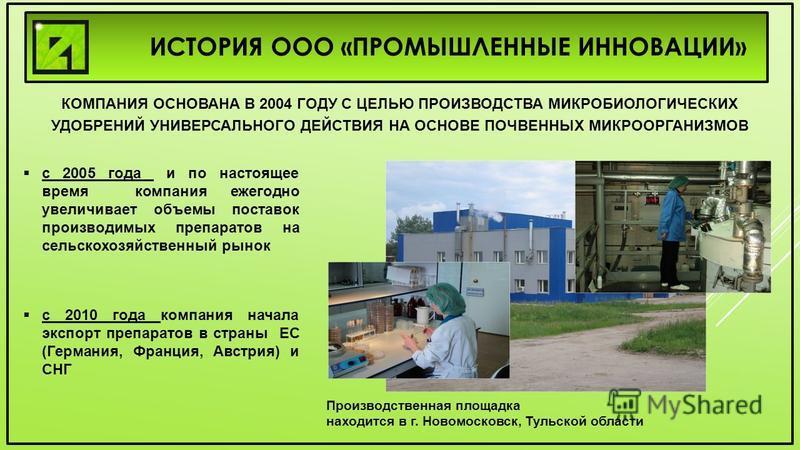 ИСТОРИЯ ООО «ПРОМЫШЛЕННЫЕ ИННОВАЦИИ» Производственная площадка находится в г. Новомосковск, Тульской области КОМПАНИЯ ОСНОВАНА В 2004 ГОДУ С ЦЕЛЬЮ ПРОИЗВОДСТВА МИКРОБИОЛОГИЧЕСКИХ УДОБРЕНИЙ УНИВЕРСАЛЬНОГО ДЕЙСТВИЯ НА ОСНОВЕ ПОЧВЕННЫХ МИКРООРГАНИЗМОВ с