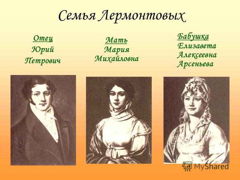 Семья Лермонтовых Отец Юрий Петрович Мать Мария Михайловна Бабушка Елизавета Алексеевна Арсеньева