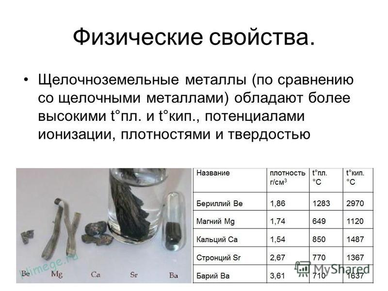 Физические свойства. Щелочноземельные металлы (по сравнению со щелочными металлами) обладают более высокими t°пл. и t°кип., потенциалами ионизации, плотностями и твердостью
