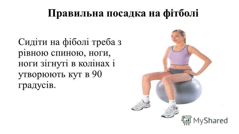 Правильна посадка на фітболі Сидіти на фіболі треба з рівною спиною, ноги, ноги зігнуті в колінах і утворюють кут в 90 градусів.