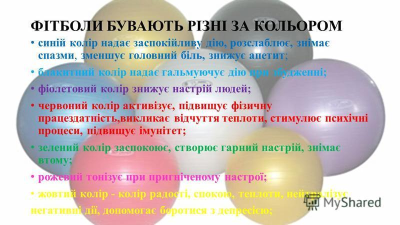ФІТБОЛИ БУВАЮТЬ РІЗНІ ЗА КОЛЬОРОМ синій колір надає заспокійливу дію, розслаблює, знімає спазми, зменшує головний біль, знижує апетит; блакитний колір надає гальмуючує дію при збудженні; фіолетовий колір знижує настрій людей; червоний колір активізує