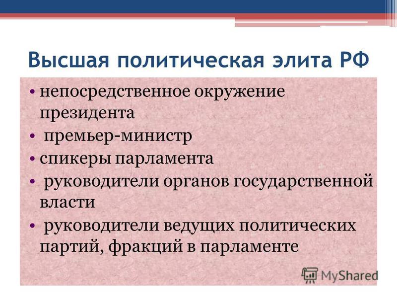 Высшая политическая элита РФ непосредственное окружение президента премьер-министр спикеры парламента руководители органов государственной власти руководители ведущих политических партий, фракций в парламенте