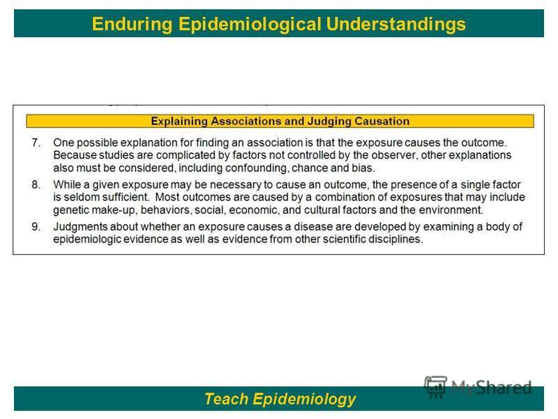 34 Teach Epidemiology Enduring Epidemiological Understandings